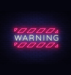 Warning neon text danger zone neon sign vector