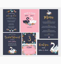 wedding and birthday set with swan lettering vector image