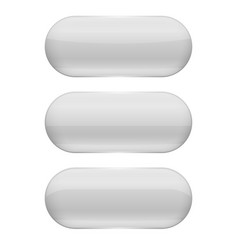 white oval glass buttons 3d vector image