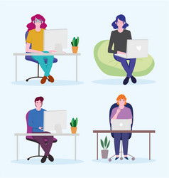 working people set man and women with laptop vector image