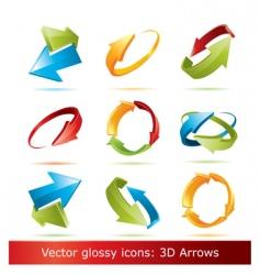 3d arrows set vector