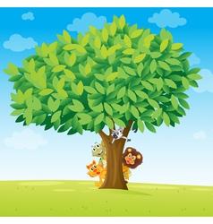 animals under tree vector image