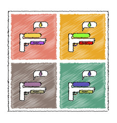 Collection of flat shading style icons water gun vector