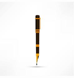 golden pen on white background vector image
