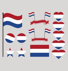 netherlands flag set collection of symbols heart vector image vector image