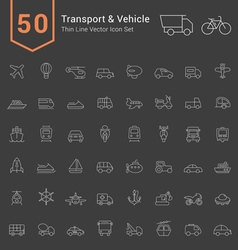 Transport and Vehicle Thin Icon Set vector image