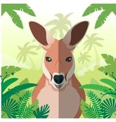 Kangaroo on the Jungle background vector image