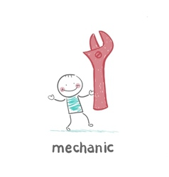 mechanic holding a red key vector image