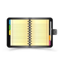 open black notebook vector image