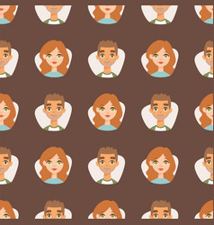 seamless pattern avatars with facial features vector image