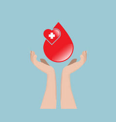 blood donation concept blood with hand vector image vector image