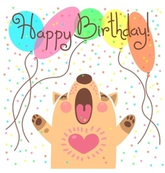 Cute happy birthday card with funny puppy vector image vector image