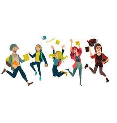 set group of students jumping from happiness vector image