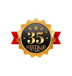 35 years anniversary golden label vector image