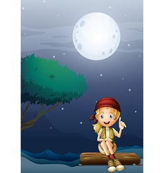 A girl sitting on a wood in a moonlight scenery vector