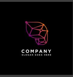 abstract geometric elephant link logo icon vector image