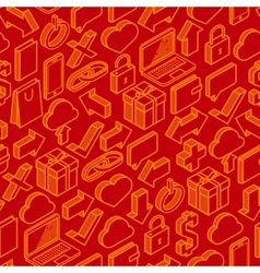 abstract seamless pattern with isometric icons vector image