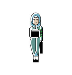 arabic woman holds suitcase with money vector image
