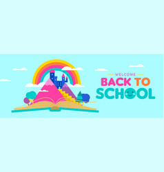Back to school web banner for kid reading concept vector