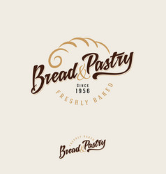 Bakery logo bread baking emblem vintage pie vector