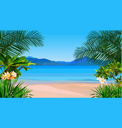 beautiful cartoon coast of the azure sea with vector image