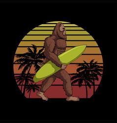 bigfoot holding a surf board sunset retro i vector image