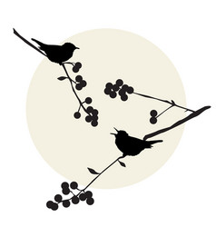 birds on the branch vector image