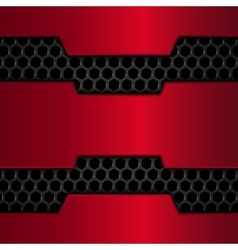 Black and red metal background Red Chrome Metal vector image