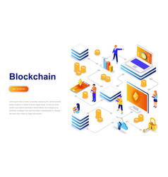 blockchain modern flat design isometric concept vector image