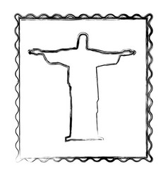 Blurred silhouette frame of christ redeemer vector