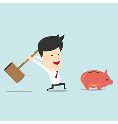 Business man use hammer try to break piggy bank vector