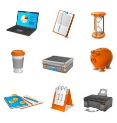 Business Realistic Icons Set vector image