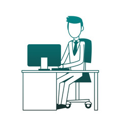 businessman at office blue lines vector image