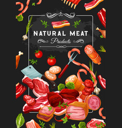 Butcher shop meat and veggies steaks and knives vector