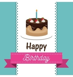 Card birthday cake chocolate candle graphic vector
