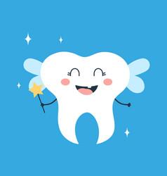 cartoon tooth fairy on blue vector image