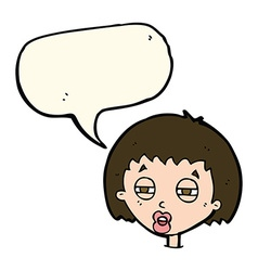 cartoon woman narrowing eyes with speech bubble vector image