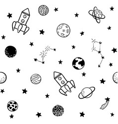 childish seamless pattern hand drawn space vector image