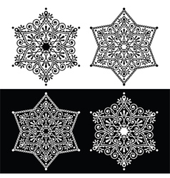 Christmas snowflake decoration - embroidery style vector