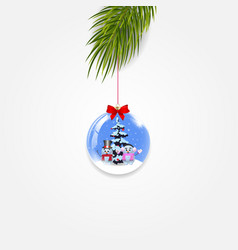 christmas tree branch with festive ball isolated vector image