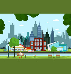 city park with river buildings and cars on street vector image
