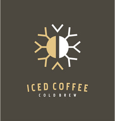 Coffee bean and snowflake logo design idea vector