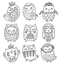 Collection hand drawn owls in tribal vector