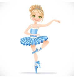 Cute ballerina girl dancing in blue dress vector