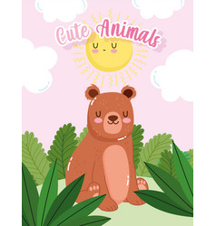cute bear sitting on grass forest nature wild vector image
