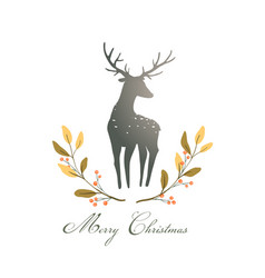 Deer or reindeer silhouette romantic wreath with vector
