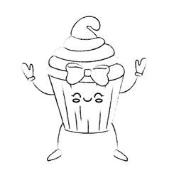 Delicious cupcake cartoon vector