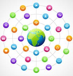 earth shape with social media vector image