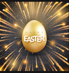 easter background with shining golden egg and vector image