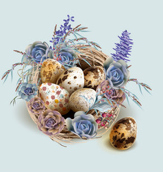 Easter vintage card with bird nest and eggs vector